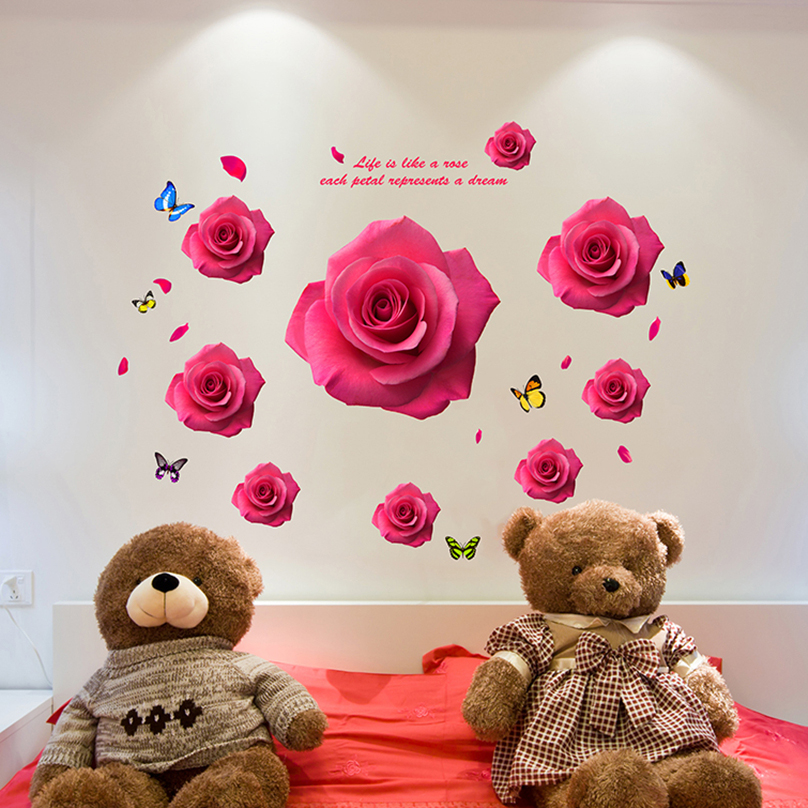[Dreamarts] Romantic Red Flower Wall Sticker Rose Butterflies Decals for Home Decor Living Room Bedroom Decoration