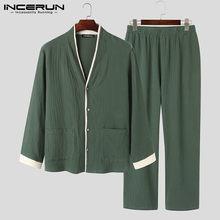 Otoño conjuntos para hombre de pijama de algodón de cuello en V manga larga pantalones para dormir 2021 ropa de casa de ocio hombres juegos de camisón INCERUN