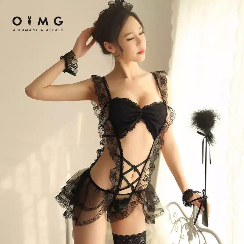 OIMG-женское сексуальное интимное белье, комплект сексуального экзотического костюма горничной для ролевых игр, эротический костюм для косп...
