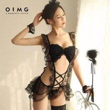 Oimg-feminino sexy lingerie íntima conjunto sexy exótico traje de empregada doméstica papel jogando erótico quarto cosplay festa traje