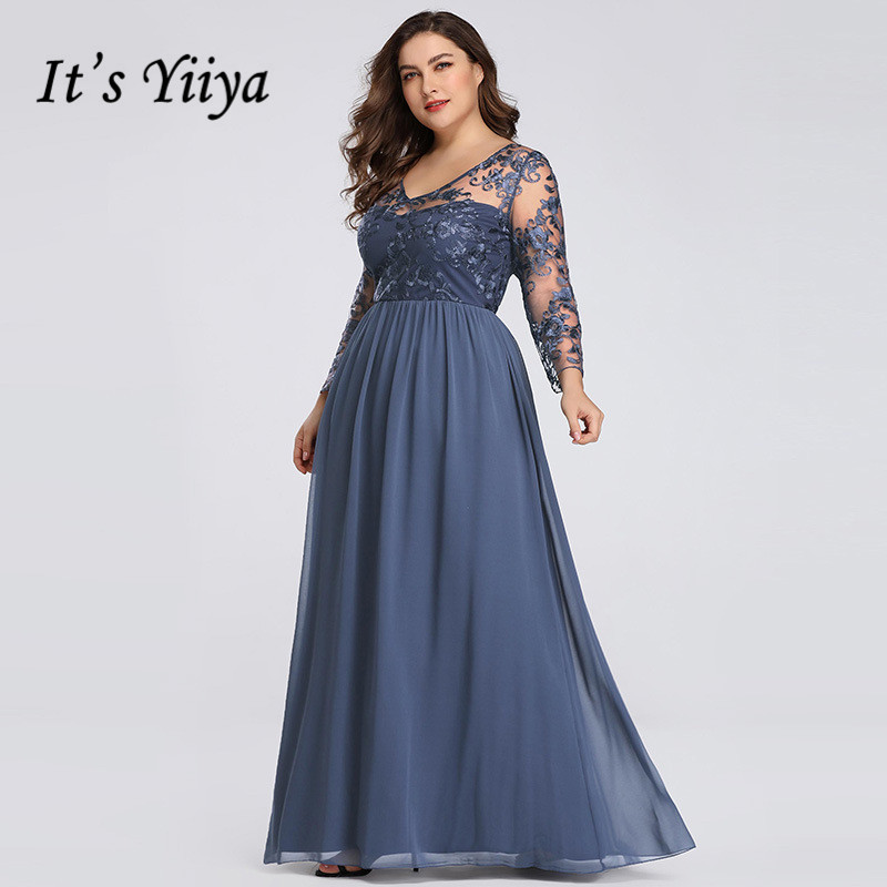 It's Yiiya Evening Dress Three Quarter Sleeve Robe De Soiree Plus Size Women Party Dresses Elegant V-neck Formal Gowns C540