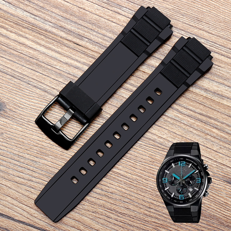 Rubber Silicone Watchband For Casio EDIFICE EFR-515PB Watch Strap Watch Bracelet Mens Sport Wristwatches Band Tools Black