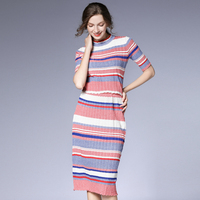 Top Quality New Work Wear Two Piece Set Knitted Sweater Women Skirt Suit Summer Women Tops And Stripped Skirt Set Suit