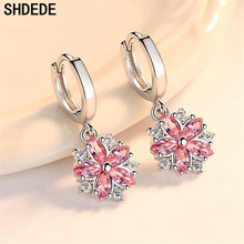 SHDEDE Pink Cubic Zirconia Flower Earrings For Women Wedding Party Gift Fashion Jewelry Eardrop Korea Trendy Accessories +WH272 цена 2017