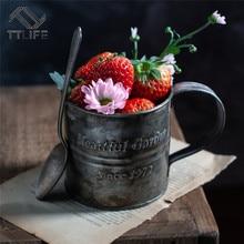 Accesorios de fotografía Retro Drinkware Vintage inglés Impresión de hierro forjado flor cubo viejo mango taza comida fruta taza hogar Cocina