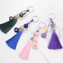Chakra Keychain Colorful Stone Beads Chakras Energy Yoga Fitness Key Chains Lotus Tassel Jewelry  Fashion Alloy Ring