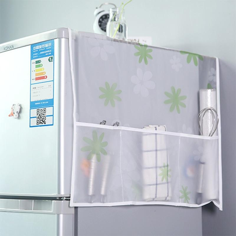 Refridgerator Dust Cover Waterproof Fridge Cover With Storage Pocket Pouch Home Kitchen Untensil Hanging Organizer Storage Bag