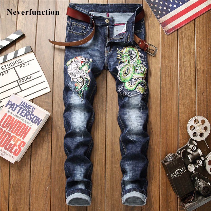New Four Seasons Men Hip Hop Dragon Tiger Embroidery Slim Fit Jeans Trousers High Quality Man Cotton Stretch Casual Denim Pants