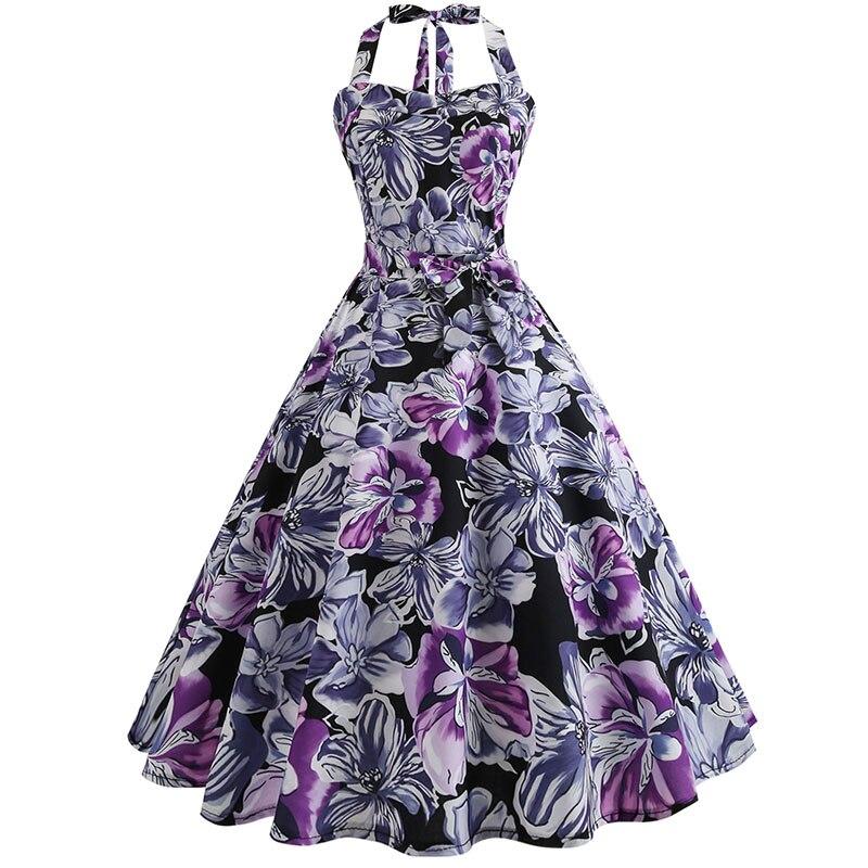 Plaid Print Halter Strapless Women Dress  Summer Sexy Backless Party Dresses Ladies Elegant Vintage Rockabilly Vestido 4