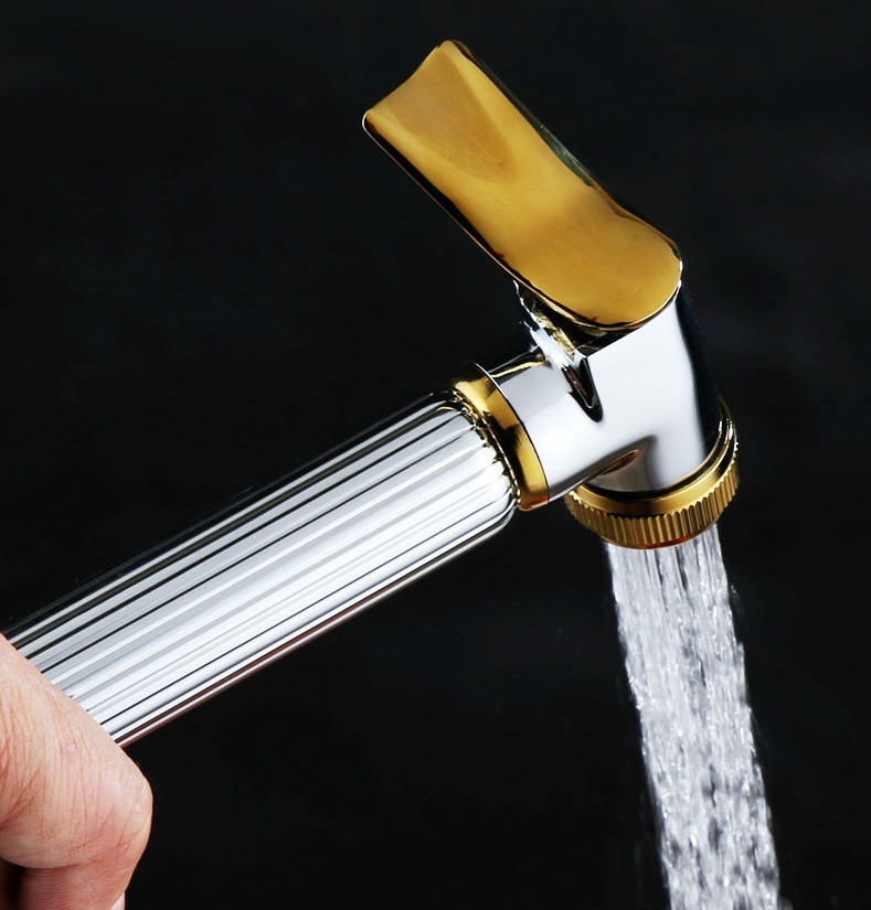 Polished Chrome & Gold Color Brass Bathroom Accessory Bathroom Bidet Hand-held Sprayer Toilet Spray Shower Head Mhh053
