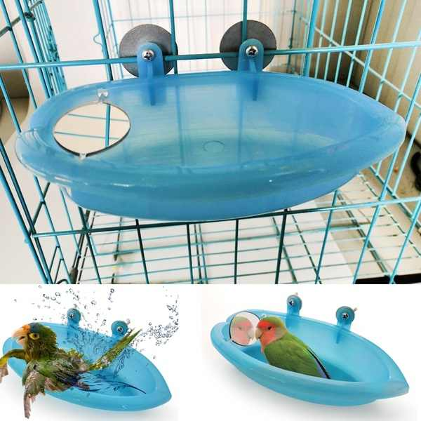 Bird Water Bath Tub For Pet Cage Hanging Bowl Parrot Parakeet Bird Bath+Mirror Birdbath
