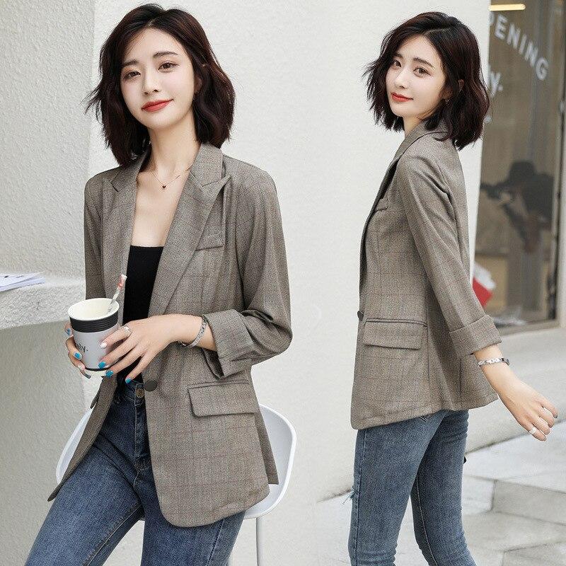 2020 women Blazer Spring Korean women's slim and fashionable casual suit Plaid women set female jacket Plaid Printed Blazer