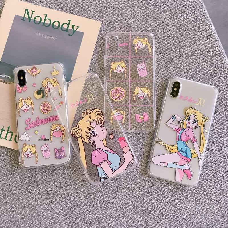 Japan Anime Sailor Moon Prinses Cover Voor Apple iPhone X XS Max Xr 7 8 6 6s Plus Meisje candy tpu Clear Phone Case Fundas