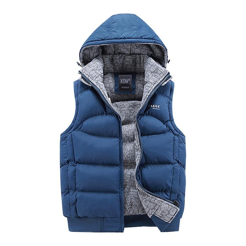 Fashion Sleeveless Jacket 2020 Men Thickening 100% Cotton Vest Hat Hooded Warm Vest Winter Waistcoat Men Casual Windbreaker