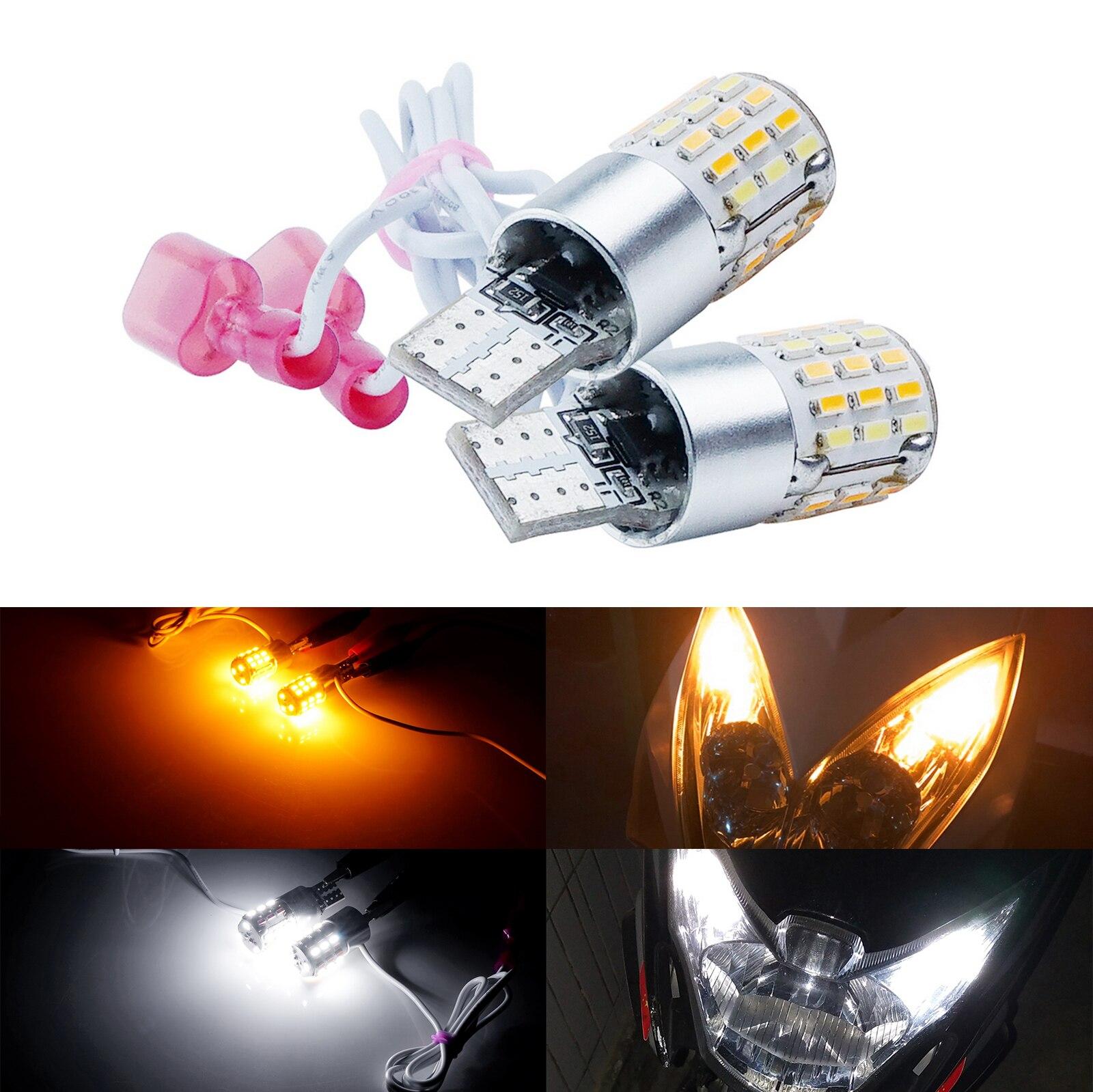 ANGRONG 2x мотоциклетный велосипед T10 W5W двухцветный светодиодный боковой фонарь DRL поворотные одиночные лампы