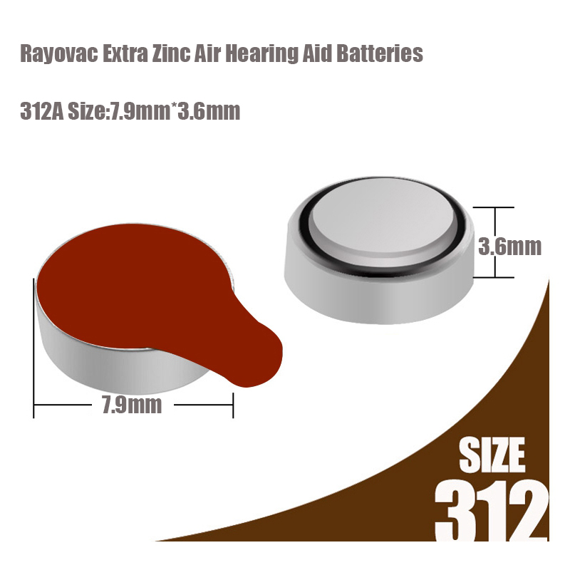 Image 4 - New 60 pcs/10card Rayovac Extra 1.45V Performance Hearing Aid Batteries. Zinc Air 312/A312/PR41 Battery for CIC Hearing aidsrayovac extrahearing aid batteriesbattery for hearing aids -