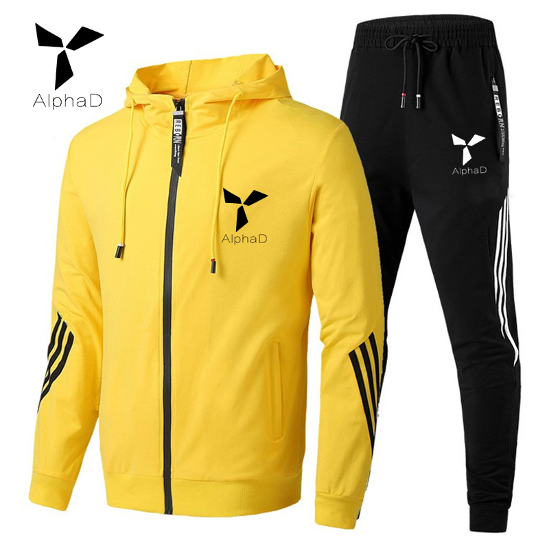 2020 Spring Autumn Men Tracksuit Cotton 2 Piece Set Sweatpants Track Suit Sweatsuit With Hooded Long Sleeve Sprited Set Oversize