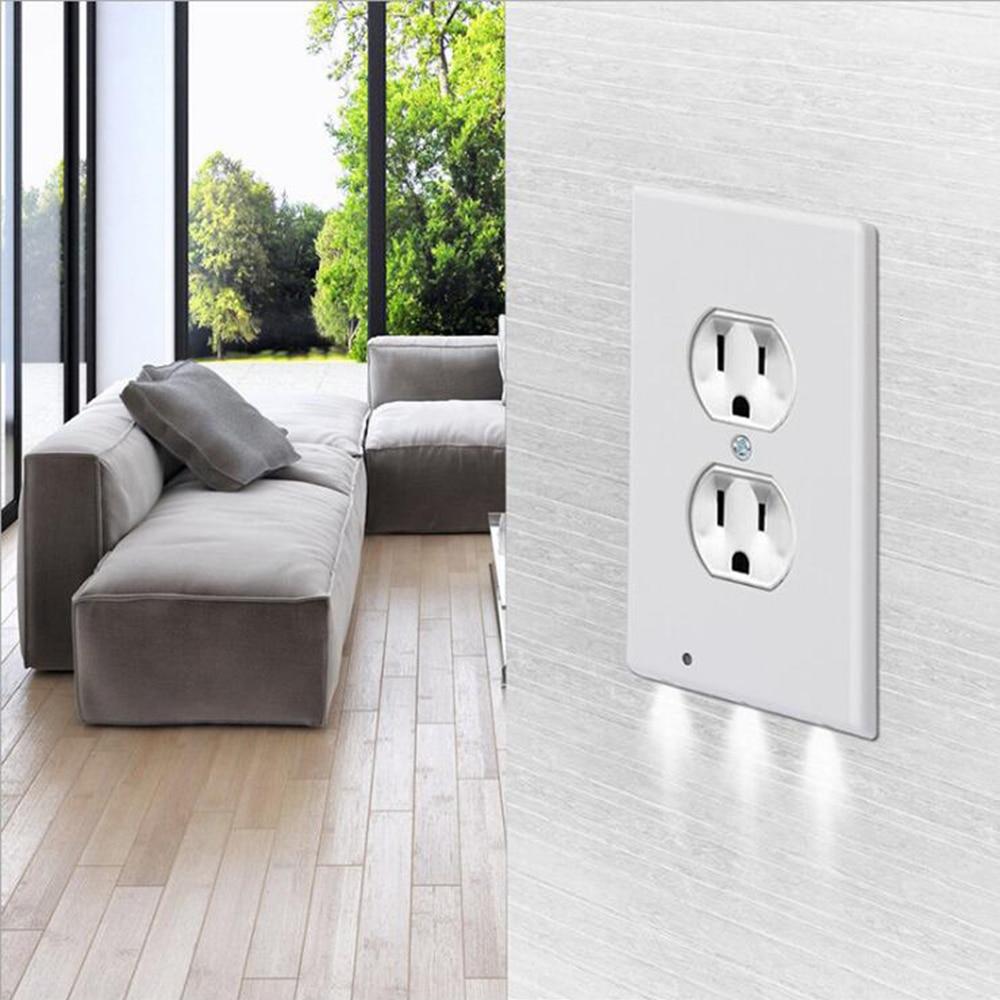 Sensor Night Light Wall Socket Light Induction Panel Lamp Corridor Switch Light Angel Outlet Duplex Plate Cover Nightlight 110V