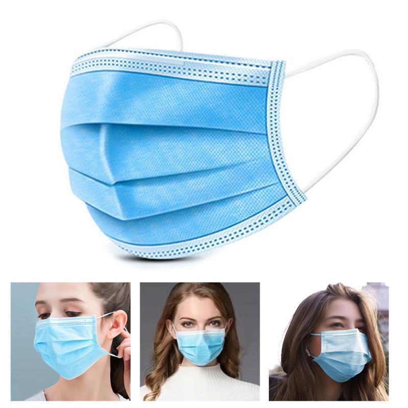 100 Pièces Masque Facial Bouche Masque Jetable 3 Couches Filtre Anti Poussière Earloop Non Tissé Bouche Masky 24 Heures En Gros