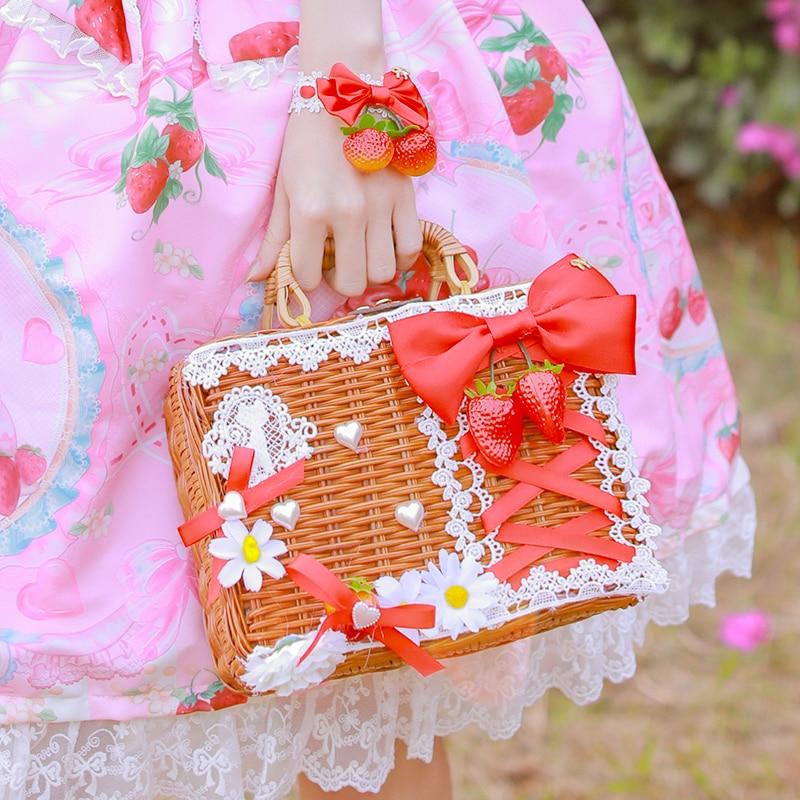 Lolita Lemon Strawberry Milk Box Shaped Sweet Purse Tote Cross Body Shoulder Bag