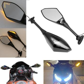 Motorcycle LED Turn Signal Mirrors For HONDA CBR600RR 1000RR 500R SUZUKI GSXR image
