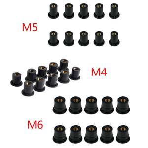 10pcs M4/M5/M6 Rubber Well Nuts Blind Fastener Windscreen Windshield Fairing Cowl Fastener Accessories for Motorcycle