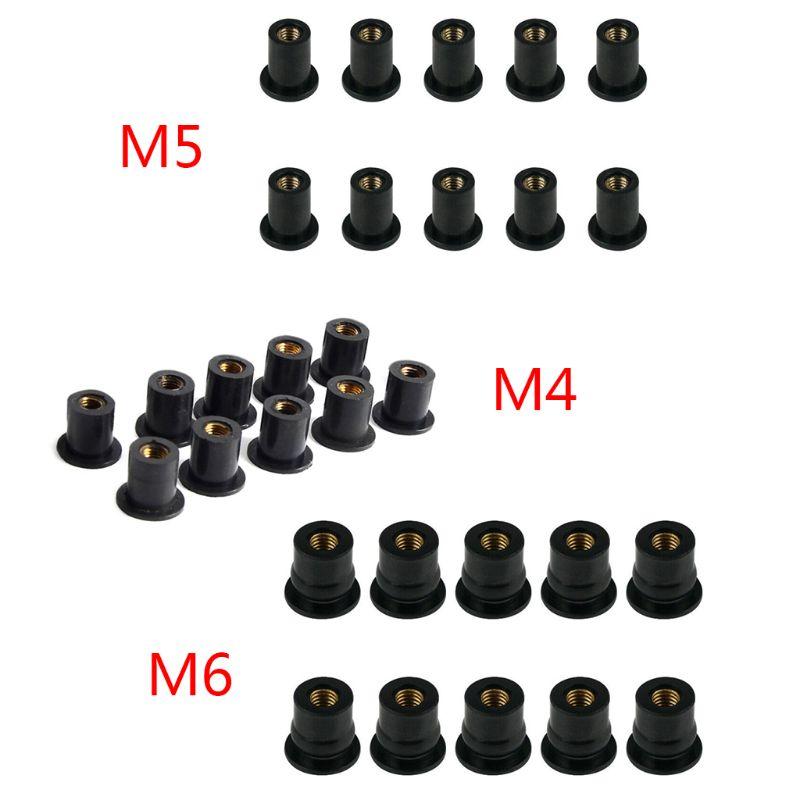 10 pièces M4/M5/M6 caoutchouc bien écrous aveugle attache pare-brise pare-brise carénage capot attache accessoires pour moto