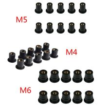 цена на 10pcs M4/M5/M6 Rubber Well Nuts Blind Fastener Windscreen Windshield Fairing Cowl Fastener Accessories for Motorcycle