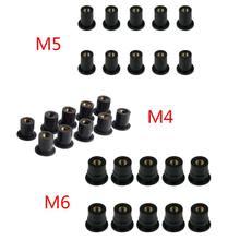 Fixador de para-brisa de borracha m4/m5/m6, acessórios de fixação de cowl para carenagem, para motocicleta, com 10 peças