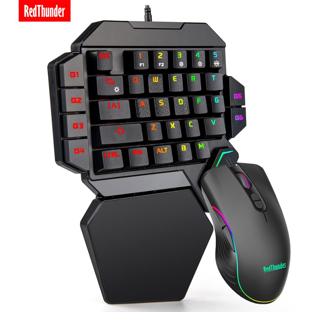 RedThunder One-Handed Mechanical Gaming Keyboard RGB Backlit Portable Mini Gaming Keypad Game Controller for PC PS4 Xbox Gamer(China)