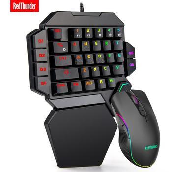 Redthunder 한 손으로 게임 키보드 rgb 백라이트 휴대용 미니 게임 키패드 pc ps4 xbox 게이머 용 인체 공학적 게임 컨트롤러