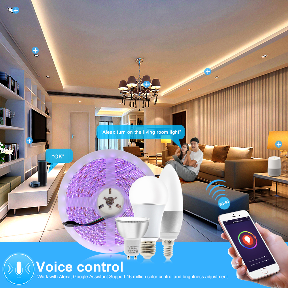 Tuya Smart Control WiFi RGB LED Strip Light Smart Life APP Compatible with Amazon Alexa and Google Home Control by Voice.