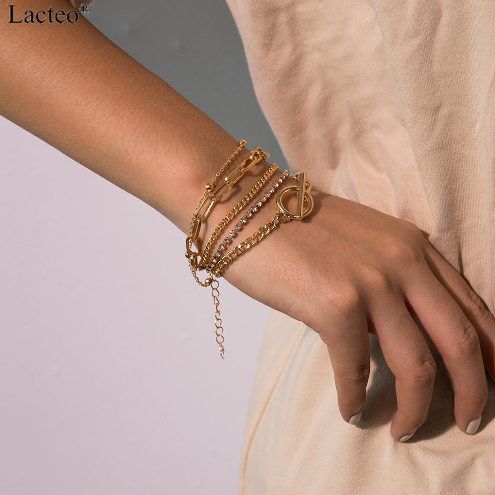 Lacteo Sexy 2 Pcs/set Rhinestone Wrist Bracelet For Women Fashion Multi Layer Alloy Chain Bangle Bracelet Statement Female Gifts