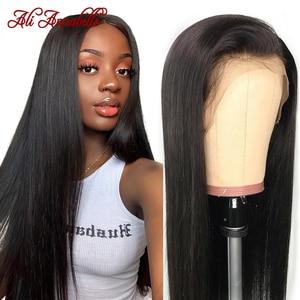 Image 1 - Ali Annabelle brezilyalı düz dantel ön İnsan saç peruk 13x4 dantel ön peruk ön koparıp İnsan saç dantel kapatma Frontal peruk