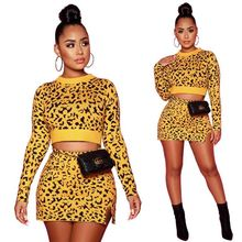 2 Piece Sets Womens Outfits Fashionable Leopard Long Sleeve Crop Top Slit Mini Skirt Sexy Two Piece Set Women Clothing Dress women two piece set floral crop top skirt beach wear dress outfit clothes ladies outfits womens clothing 2 piece set