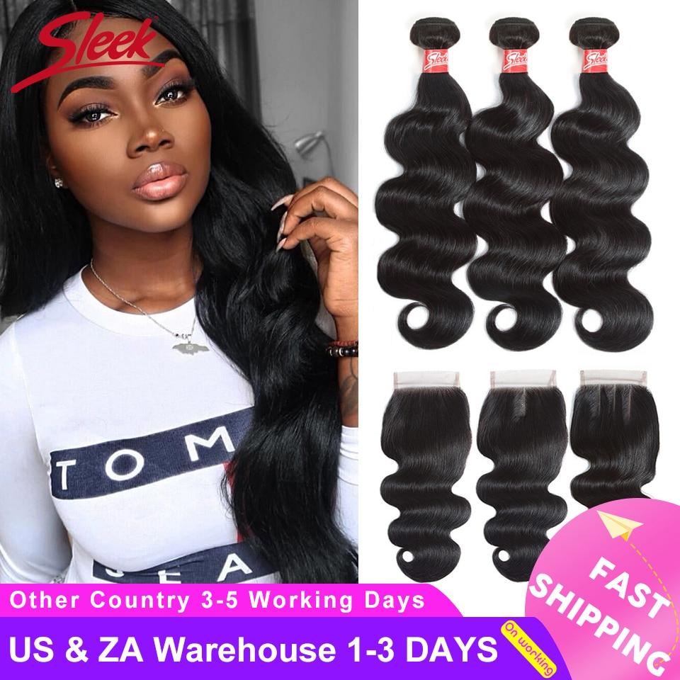 Sleek Body Wave Bundles With Closure Brazilian Hair Bundles With Closure 8-28 30 Non-Remy Human Hair 3/4 Bundles With Closure