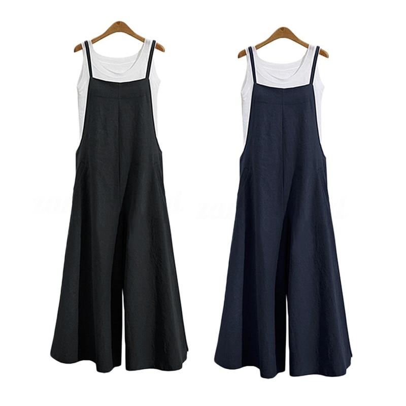 2 PCS Women Casual Solid Spaghetti Straps Wide Leg Pants Pockets Loose Bib Cotton Linen Jumpsuits,M Black & Dark Blue
