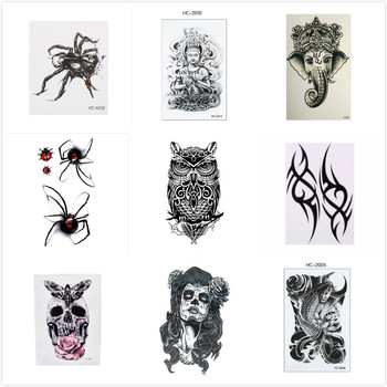 10 Styles Big Temporary Fake Tattoos Stickers Black Death Skull Tattoos Large Arm Should Temporary Tattoo For Men women image
