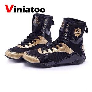 Новая Профессиональная боксерская обувь Для мужчин дышащие боксерские ботинки высокое качество светильник туфли для Реслинга; Большие раз...