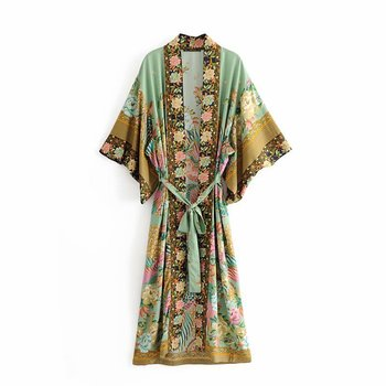 Fitshinling Print Floral Beach Kimono Sashes Slim Long Cardigan Female Autumn New Cotton Sexy Vintage Beach Cover-Up Bohemian image