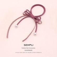 Блестящая лента с жемчугом модные резинки для волос девочек