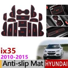Anti Slip Rubber Poort Slot Beker Matten voor Hyundai ix35 2010 2015 LM Tucson ix Accessoires Stickers 2010 2011 2012 2013 2014 2015