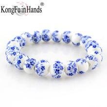 Голубые и белые фарфоровые бусины нитка браслет ol стиль Классические