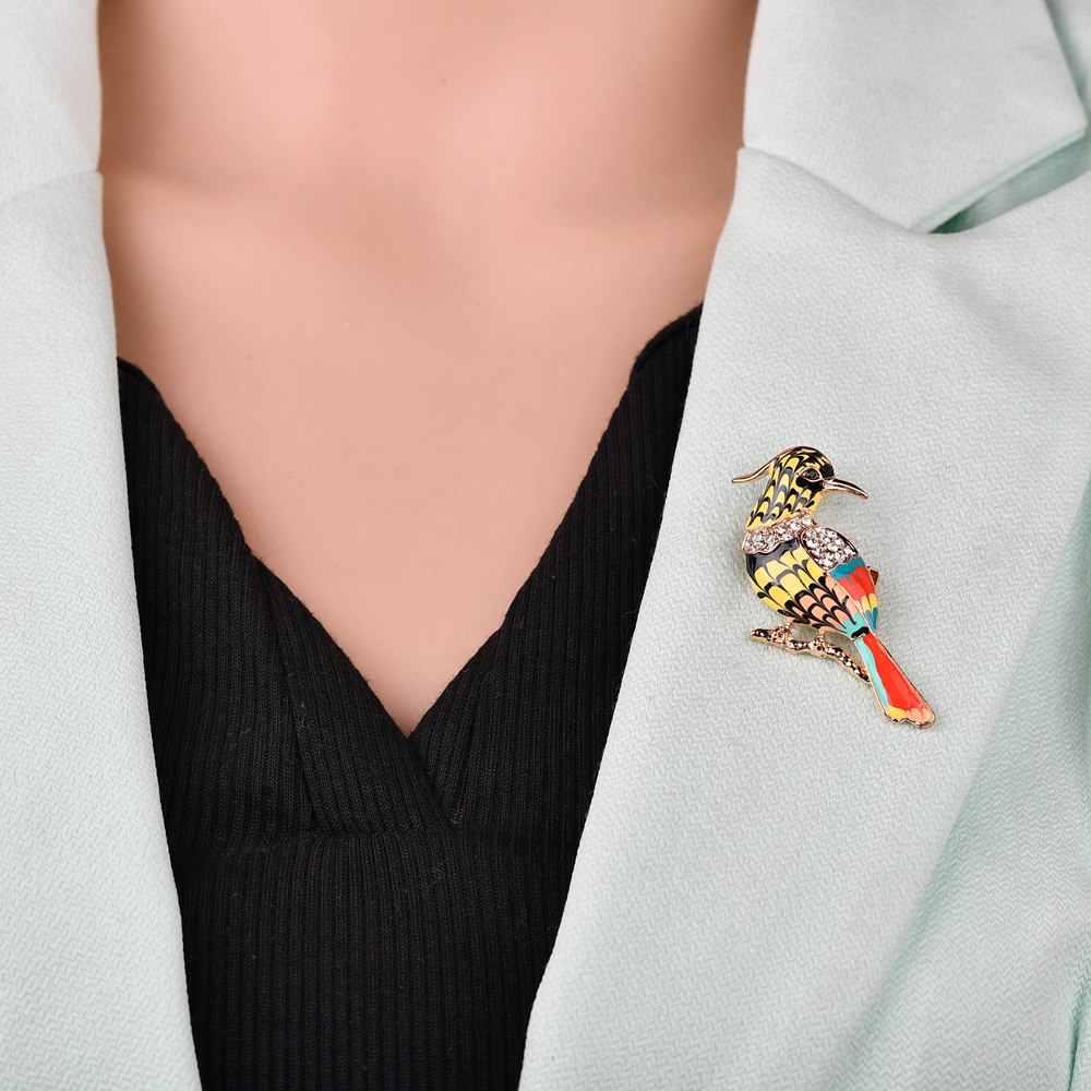 2019 Nuovo Toucan Bird Spille Variopinto Dello Smalto Del Rhinestone di Cristallo Per Le Donne di Tendenza Pellicano Uccello Spilla Spilli Accessorio Dei Monili