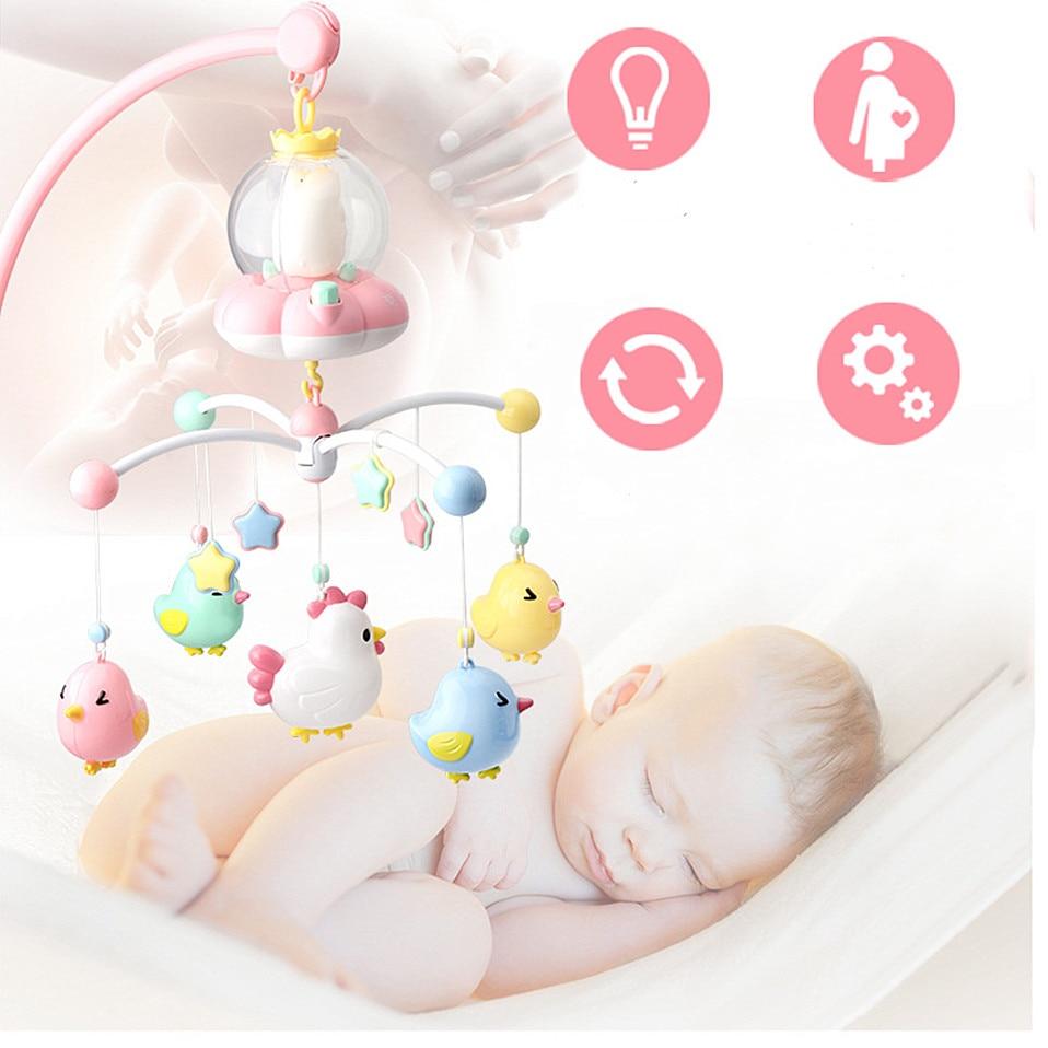 cama sino recém-nascido girando música chocalhos berço
