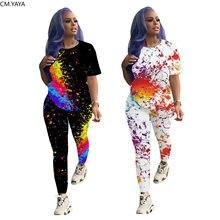 Cm. yaya activo wear feminino pintado impressão de duas peças conjunto manga curta t topos lápis calças compridas terno sweatsuit treino outfit