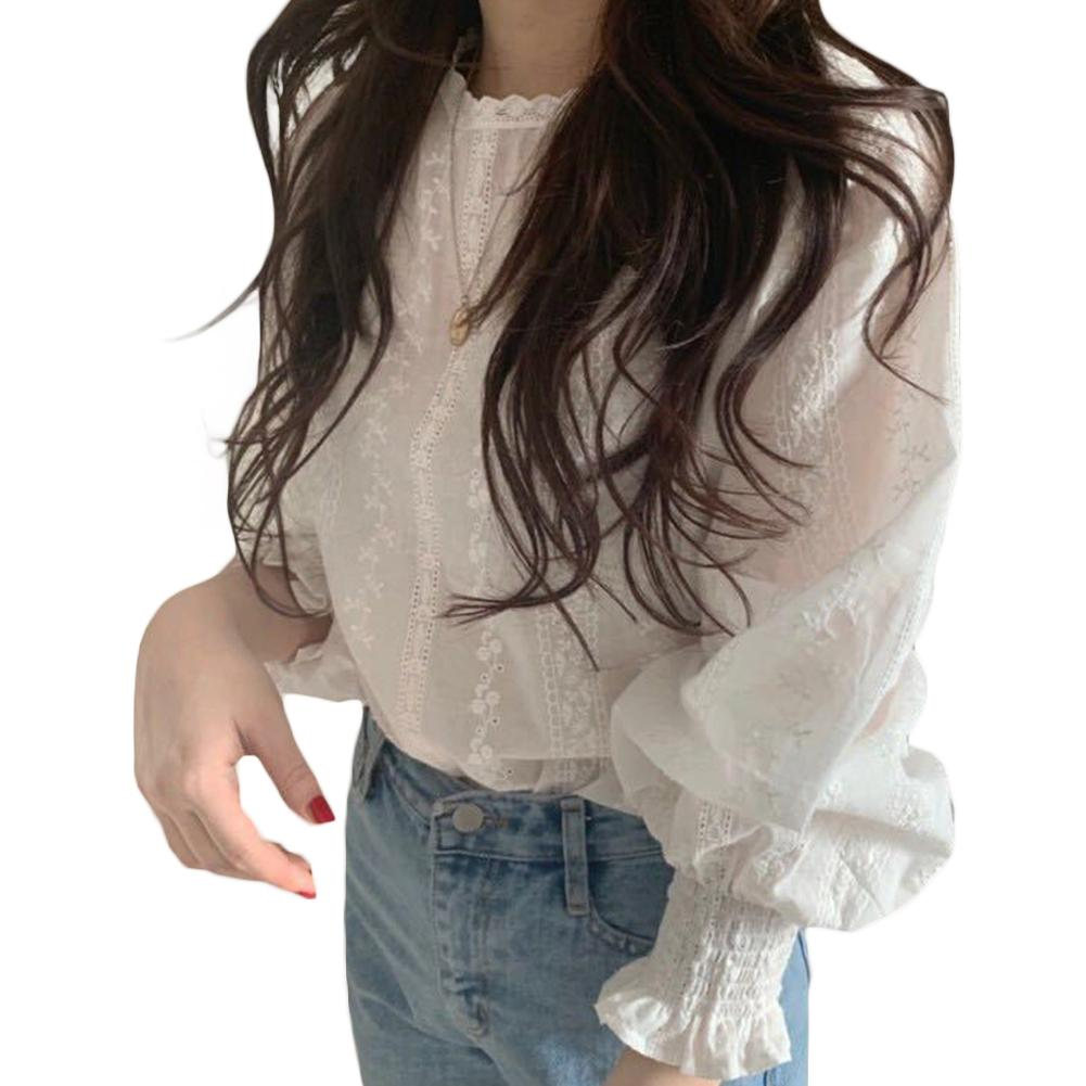 Women Solid Color Lace Embroidered Long Lantern Sleeve Round Neck Blouse Shirt