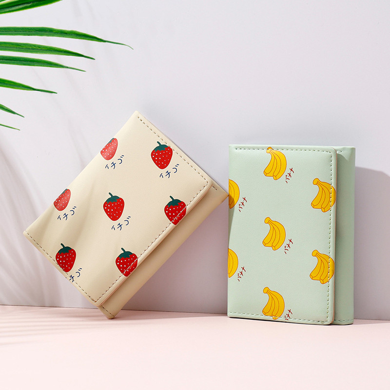 Korean Fresh Fruit Women PU Leather Standard Short Wallet Girls Coin Purse Key Wallet For Female Daily Clutch Purses Wholesale