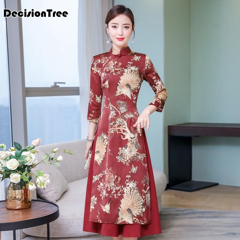 2020 Cheongsam Ao Dai Vietnam Style Elegant Lady Stain Dress Retro Mandarin Collar Phoenix Print Aodai Dress Chinese Dress Qipao