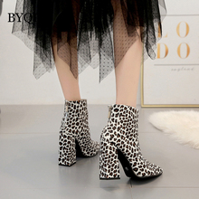BYQDY Women White Boots Stripper Leopard Chunky High Heels Short Ankle Combat Block Fetish Zebra Shoes Size 40